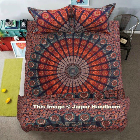 Urban Mandala 4pc Duvet cover set with Bedsheet and matching pillows-Jaipur Handloom