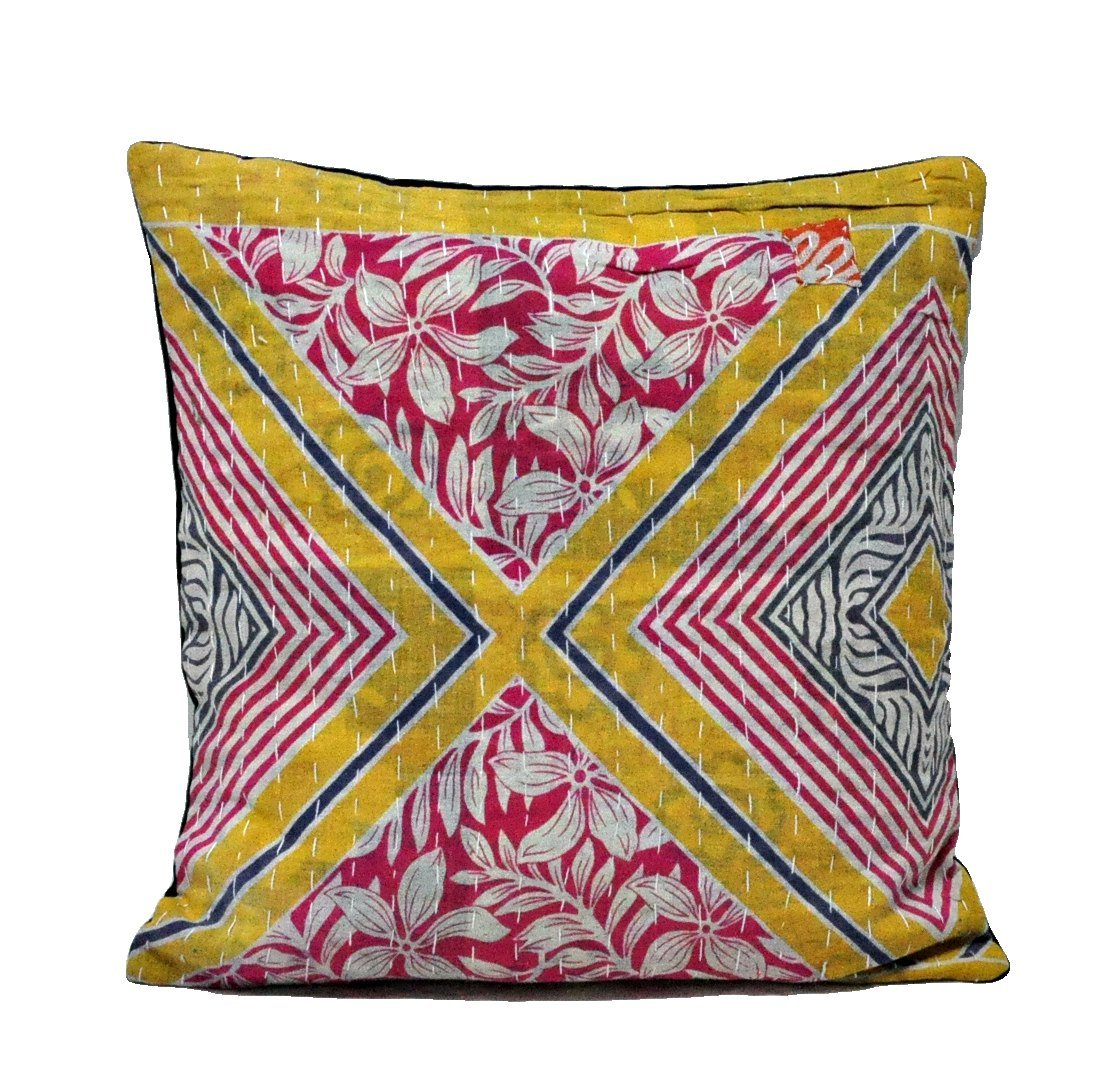 Vintage kantha bedroom cushions bohemian decorative pillows for couch - C27