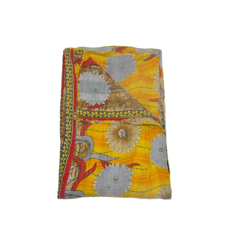floral kantha quilt throw blanket