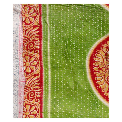 Vintage sari kantha throw gudri - AS40-Jaipur Handloom