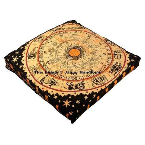 yellow horoscope tapestry floor cushion large square bohemian pouf ottoman-Jaipur Handloom