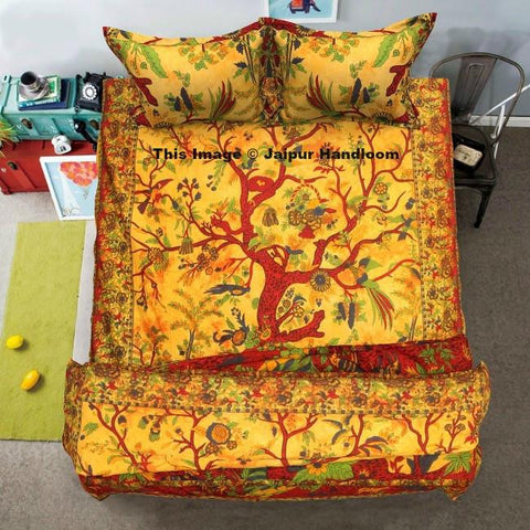 yellow tree of life 4pc bedding set with duvet cover bed cover and pillows-Jaipur Handloom