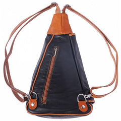 Alive With Style 'Dina' Italian Leather Backpack in Green/Brown-Navy/Tan-Red-Black-Black/Tan-Black/Brown