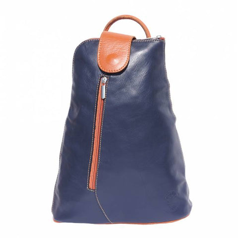 Alive With Style 'Michela GM' Italian Leather Backpack in Navy/Tan-Black/Brown-Black/Red-Tan/Brown-Black-Taupe/Brown