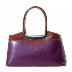 Alive With Style 'Eleganza' Italian Leather Handbag in Black/Brown-Red/Black-Navy/Brown-Black/Red-Black-Purple/Brown-Black/red