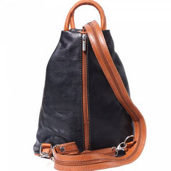 Alive With Style 'Vanna' Italian Leather Backpack in Black/Tan-Red-Black-Navy/Tan