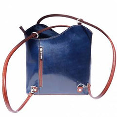 Alive With Style 'Cloe' Italian Leather Shoulder Bag/Backpack in Tan/Brown-Black-Blue/Brown-Red/Black-Dark Blue-Green/Brown-Brown/Tan-Tan-Red
