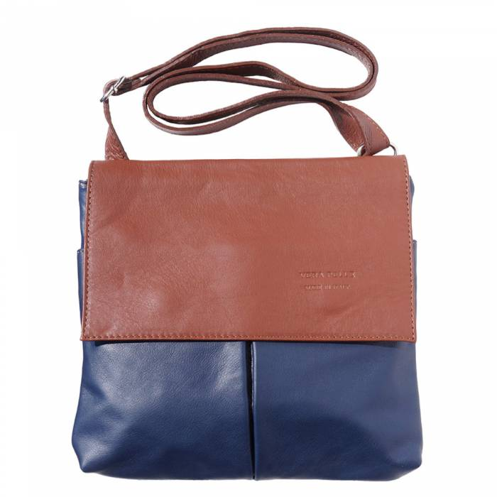 Alive With Style 'Oriana' Italian Leather Shoulder/Cross Body Bag in Navy/Brown-Black-Green/Brown-Black/Tan-Brown-Tan