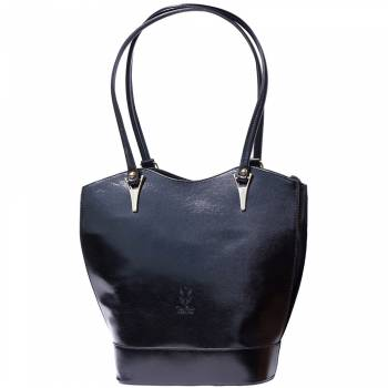 Alive With Style 'Greta' Italian Leather Shoulder Bag/Convertible Backpack in Black-Dark Blue/Brown-Red/Black