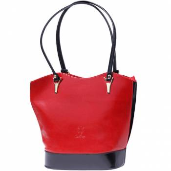 Alive With Style 'Greta' Italian Leather Shoulder Bag/Convertible Backpack in Red/Brown-Black-Black/red-Dark Blue/Brown-Brown-Red/Black-Dark Green/Brown-Orange/Brown