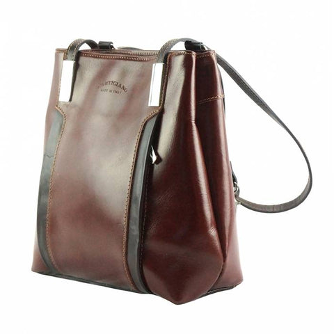 Alive With Style 'Lidia' Italian Leather Shoulder Bag/Backpack in Brown/Dark Brown-Red/Black-Black-Tan/Brown