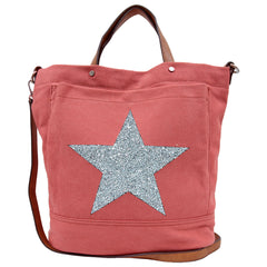 Alive With Style 'Star Power' Canvas Tote by Sassy Duck in Black-Red-Olive
