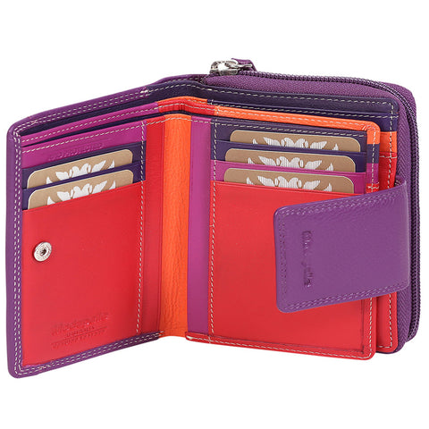 Alive With Style 'Joy' Leather Wallet by Modapelle in Red/Multi-Black/Multi-Grey/Blue-Purple/Multi