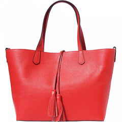 Alive With Style 'Belinda' Italian Leather Tote in Pink-Navy-Red-Grey-Orange-Yellow-Black-Tan