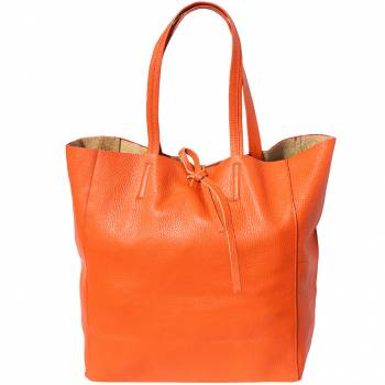 Alive With Style 'Babila' Italian Leather Tote in Orange-Lime