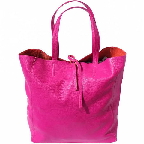 Alive With Style 'Babila' Italian Leather Tote in Orange-Lime-Fuchsia-Turquoise-Yellow-Navy-Red-White-Black-Burgundy-Pink-Taupe