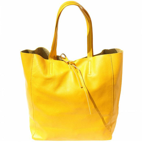 Alive With Style 'Babila' Italian Leather Tote in Orange-Lime-Fuchsia-Turquoise-Yellow-Navy-Red-White-Black-Burgundy-Pink