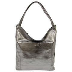 Alive With Style 'Alicante' Leather Shoulder Bag by Sassy Duck in Silver-Rose Gold-Burgundy