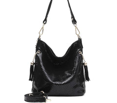 Alive With Style 'Carol' Leather Shoulder Bag in Black-Coffee-Beige-Multi