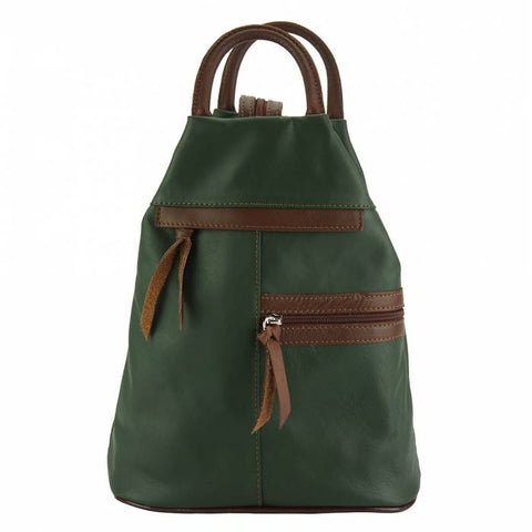 Alive With Style 'Sorbonne' Leather Backpack/Shoulder Bag in Green/Brown-Navy/Brown-Black/Brown