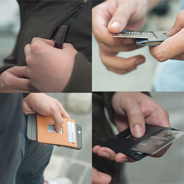 Full Grain RFID Wallet lifestyle shots (Haru) bellroy slim sleeve, bellroy card sleeve, RFID wallet