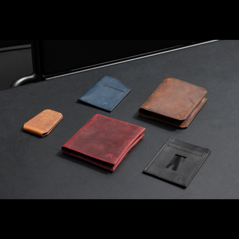 Crazy horse leather wallets from kisetsu flatlay