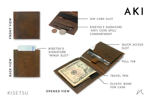 Slim wallet AKI from Kistesu Thin Wallets