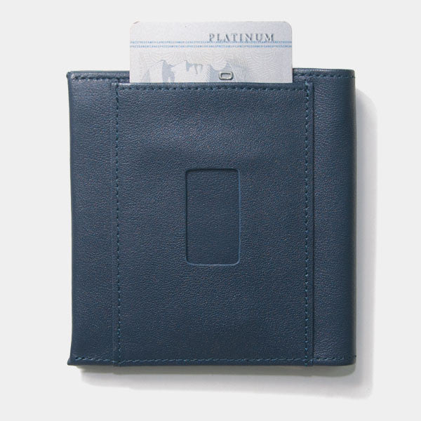 Back view of Aki rfid wallet in ash blue with ninja card slot