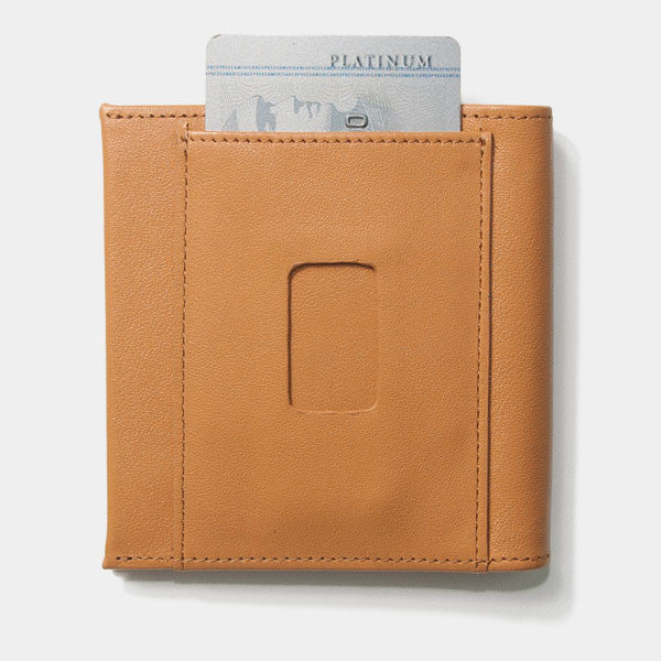 Back of the Aki Bifold Wallet in tanned full grain leather featuring the ninja slot.