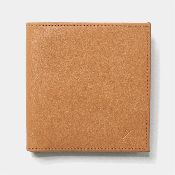 Front view of Kisetsu's Aki slim tanned rfid billfold wallet in full grain leather for men