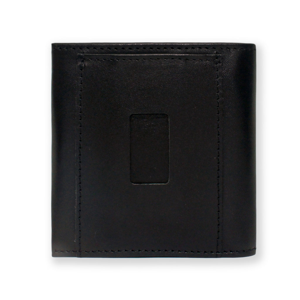 Back of the Aki Bifold Wallet in Black Full Grain Leather featuring the ninja slot.