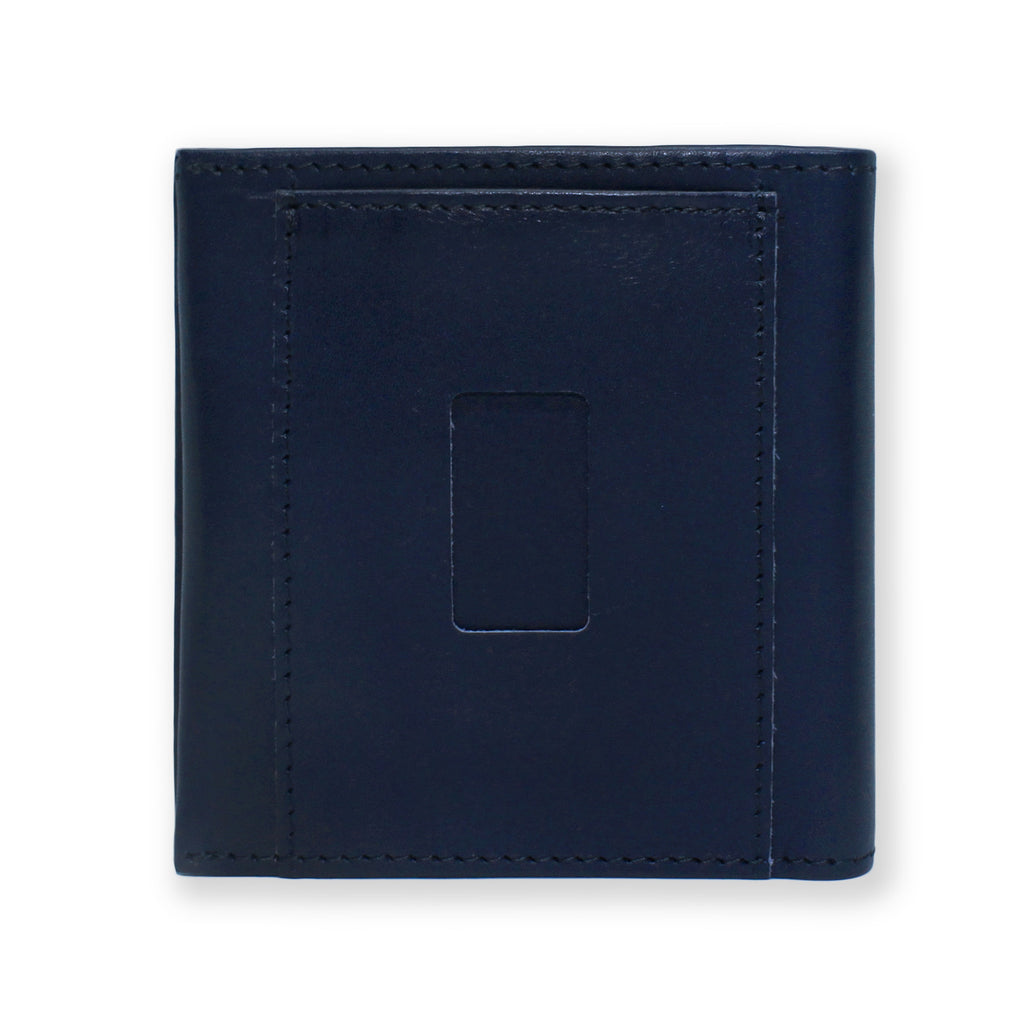 Back of the Aki Bifold Wallet in navy blue full grain leather featuring the ninja slot.