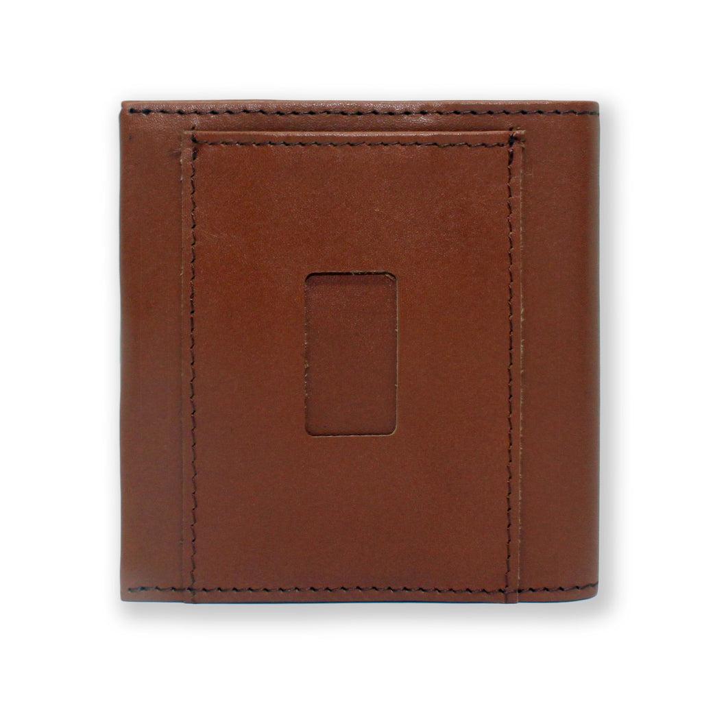 Back of the Aki Bifold Wallet in cinnamon brown full grain leather featuring the ninja slot.