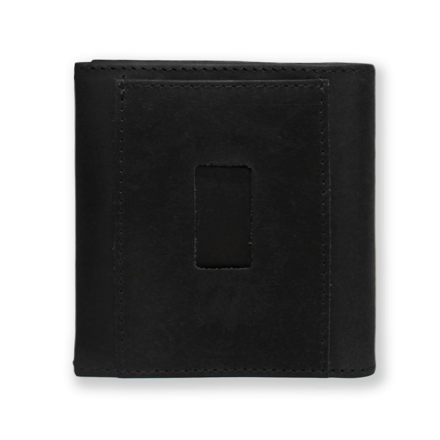 Back of the Aki Bifold Wallet in graphite black crazy horse leather featuring the ninja slot.