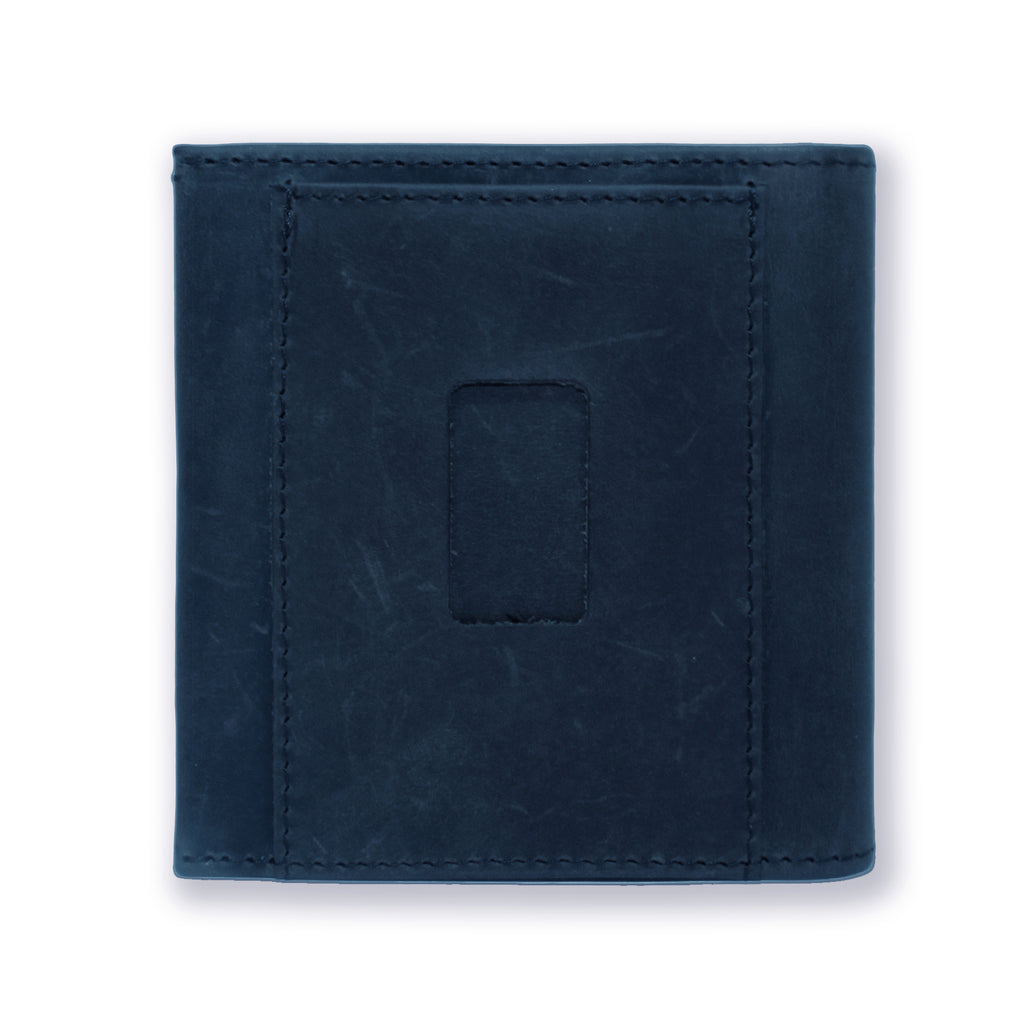 Back of the Aki Bifold Wallet in steel blue crazy horse leather featuring the ninja slot.