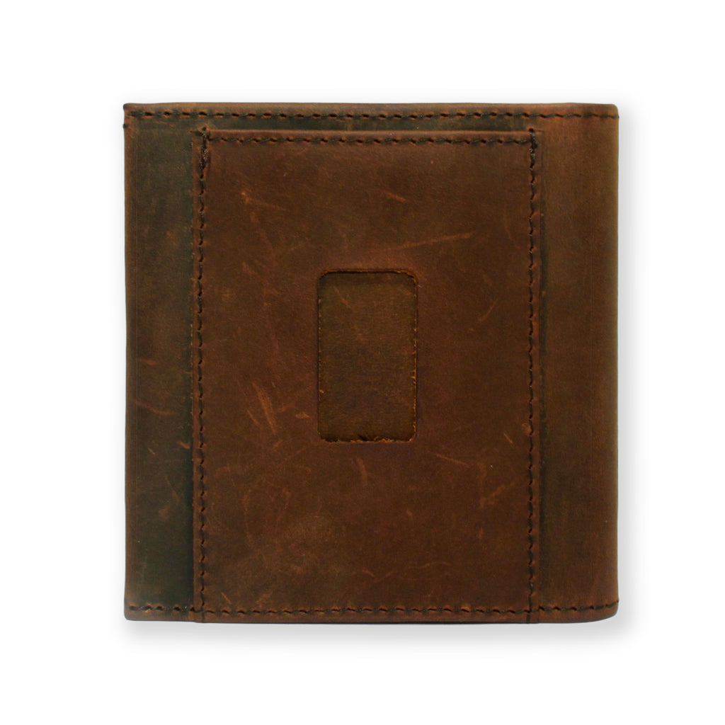 Back of the Aki Bifold Wallet in vintage brown crazy horse leather featuring the ninja slot.