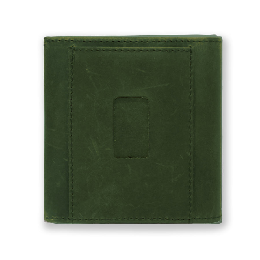 Back of the Aki Bifold Wallet in hunter green crazy horse leather featuring the ninja slot.