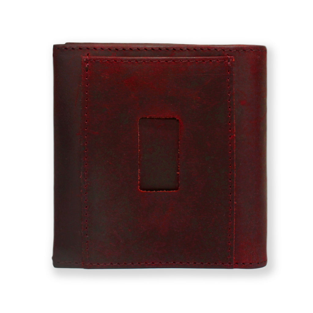 Back of the Aki Bifold Wallet in wine crazy horse leather featuring the ninja slot.