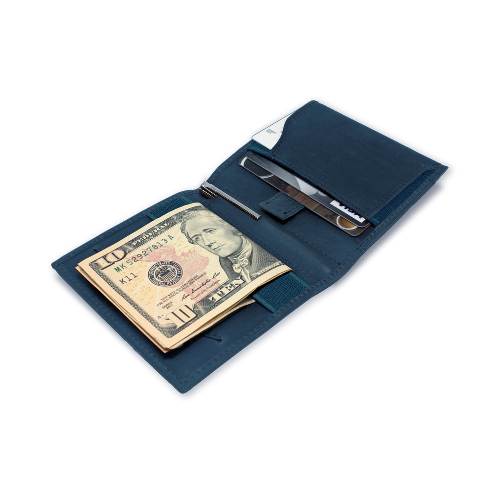 Open view of Aki Bifold Wallet in steel blue crazy horse leather, comes with a handy aluminium travel pen