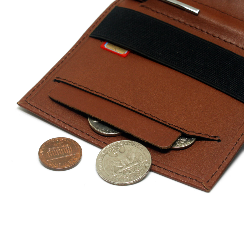 Anti spill compartment of the Aki Bifold wallet in cinnamon brown full grain leather stores coins and keys. Also features a designated SIM card slot under the currency band.