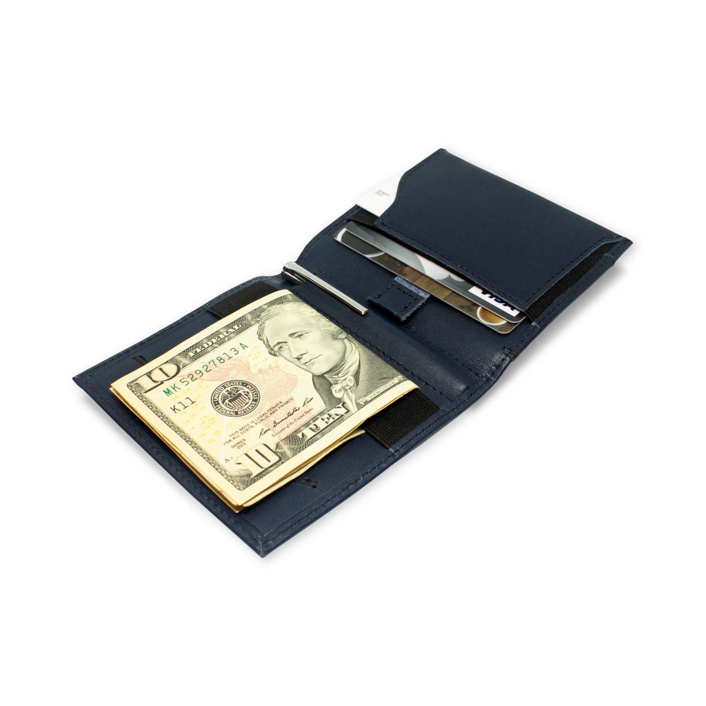 Open view of Aki Bifold Wallet in navy blue full grain leather, comes with a handy aluminium travel pen