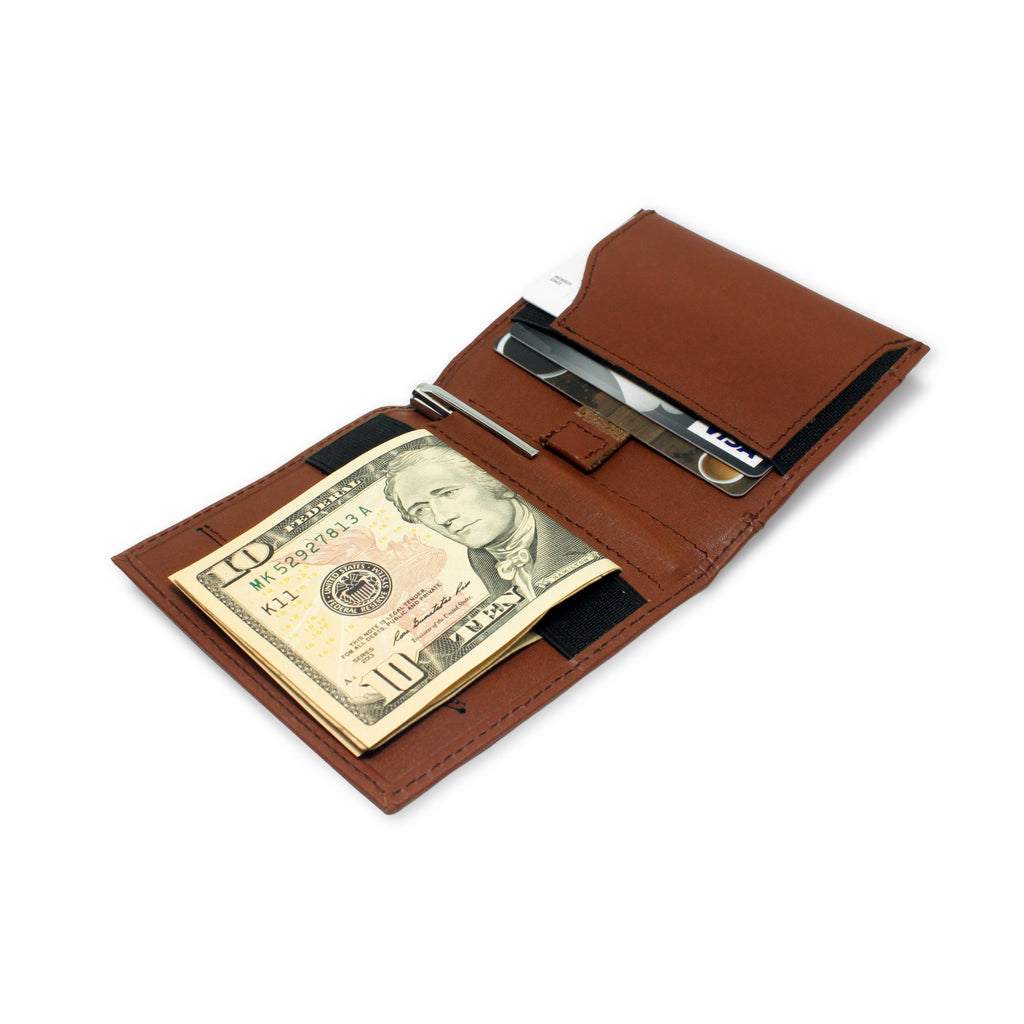 Open view of Aki Bifold Wallet in cinnamon brown full grain leather, comes with a handy aluminium travel pen