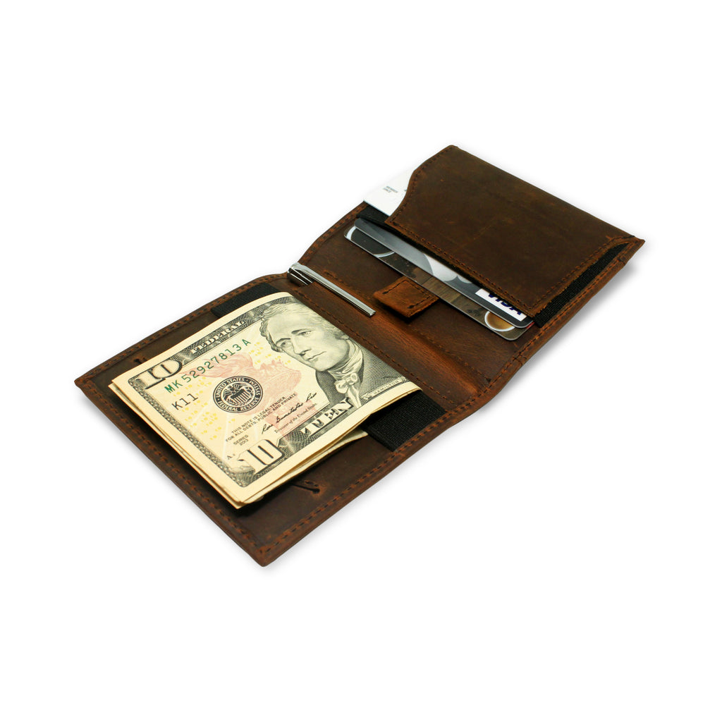 Aki Wallet in Crazy Horse Leather (Vintage Brown)