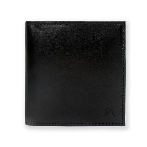 Aki Bifold Wallet in Black Full Grain Leather