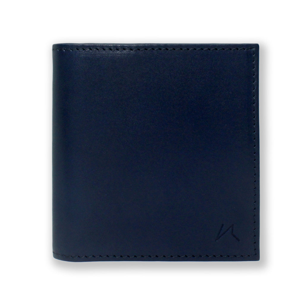 Aki Bifold Wallet in navy blue full grain leather