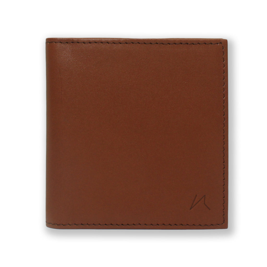 Aki Bifold Wallet in cinnamon brown full grain leather