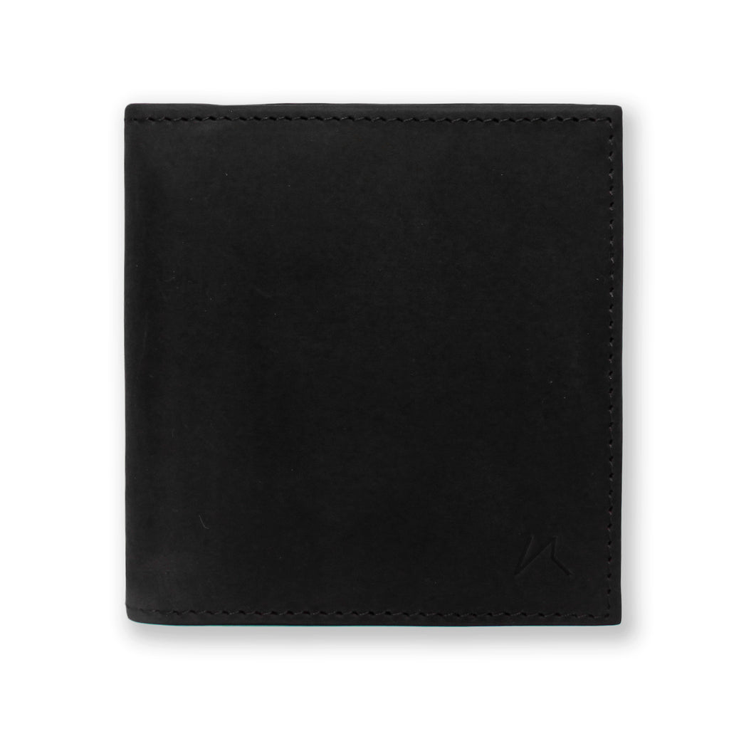 Aki Bifold Wallet in graphite black crazy horse leather
