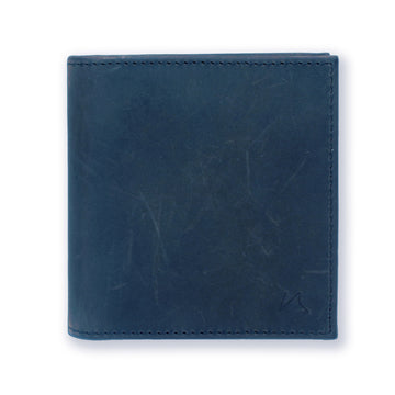 Aki Bifold Wallet in steel blue crazy horse leather