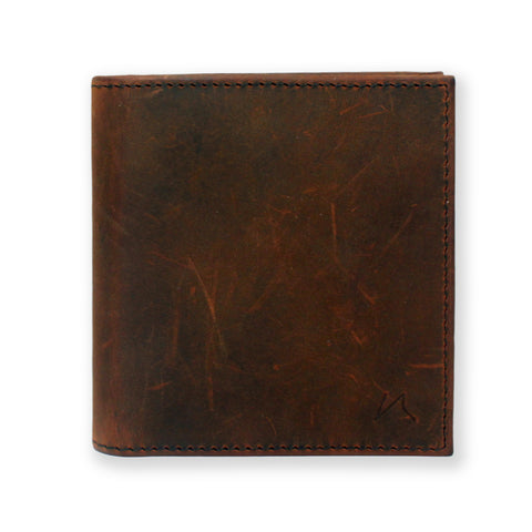 Aki Bifold Wallet in vintage brown crazy horse leather
