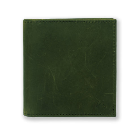 Aki Bifold Wallet in hunter green crazy horse leather